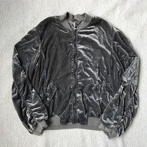 Free People Gray Velvet Bomber Jacket